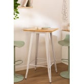 Vierkante hoge tafel in hout en staal (60x60 cm) LIX   , miniatuur afbeelding 1