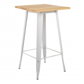 Vierkante hoge tafel in hout en staal (60x60 cm) LIX   , miniatuur afbeelding 2
