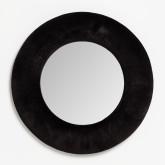 Ronde wandspiegel in fluweel (Ø41 cm) Lüa, miniatuur afbeelding 1