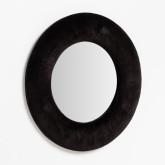 Ronde wandspiegel in fluweel (Ø41 cm) Lüa, miniatuur afbeelding 2