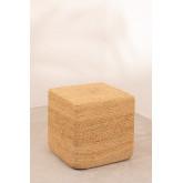 Vierkante natuurlijke jute Poef Orsen, miniatuur afbeelding 2