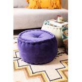 Kelli Round Velvet Puff, miniatuur afbeelding 1