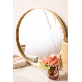 Yiro houten ronde spiegel, miniatuur afbeelding 1