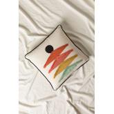 Kussen met katoenen borduurwerk (45x45 cm) Falbus, miniatuur afbeelding 1