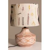 Agra tafellamp van hout en stof, miniatuur afbeelding 3