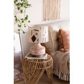 Agra tafellamp van hout en stof, miniatuur afbeelding 1