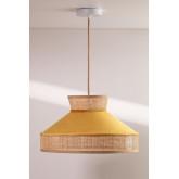 Plafondlamp in fluweel en rotan Xanti, miniatuur afbeelding 1