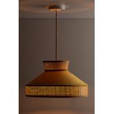 Plafondlamp in fluweel en rotan Xanti, miniatuur afbeelding 2