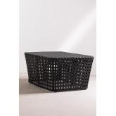 Rechthoekige salontafel in rotan net, miniatuur afbeelding 4