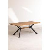 Kogi rechthoekige eettafel van hout en metaal (180x90 cm), miniatuur afbeelding 2