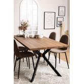 Kogi rechthoekige eettafel van hout en metaal (180x90 cm), miniatuur afbeelding 1