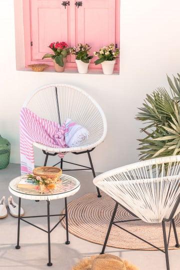 Set 2 stoelen en 1 tafel in polyethyleen en staal New Acapulco