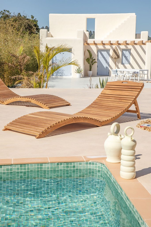 Kedas teakhouten opvouwbare ligstoel, galerij beeld 1