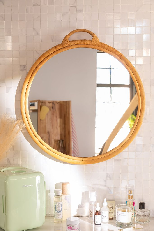 Ronde rotan wandspiegel (Ø53,5 cm) Daro, galerij beeld 1