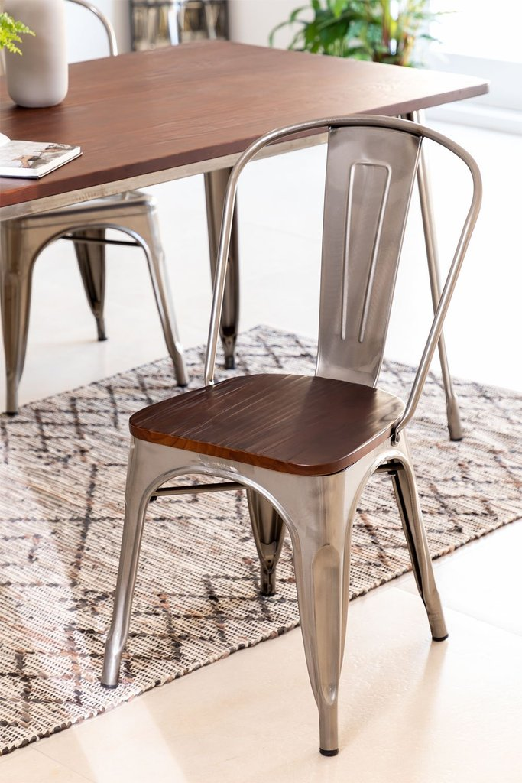 LIX stoel geborsteld staal met houten zitting , galerij beeld 1