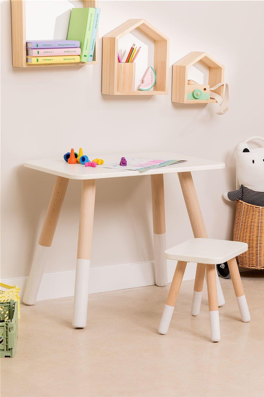 Grechen houten kindertafel en kruk, galerij beeld 1