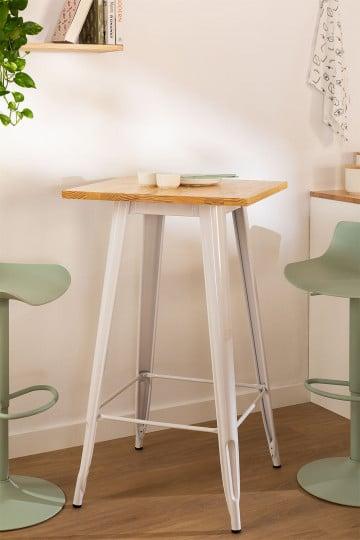Vierkante hoge tafel in hout en staal (60x60 cm) LIX