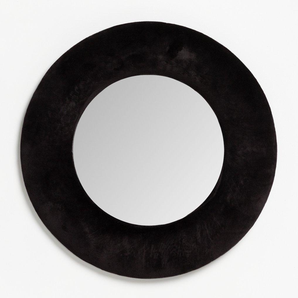 Ronde wandspiegel in fluweel (Ø41 cm) Lüa, galerij beeld 1