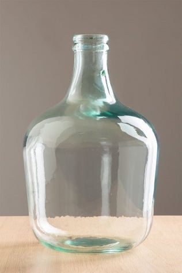 Demijohn in krik van gerecycled transparant glas