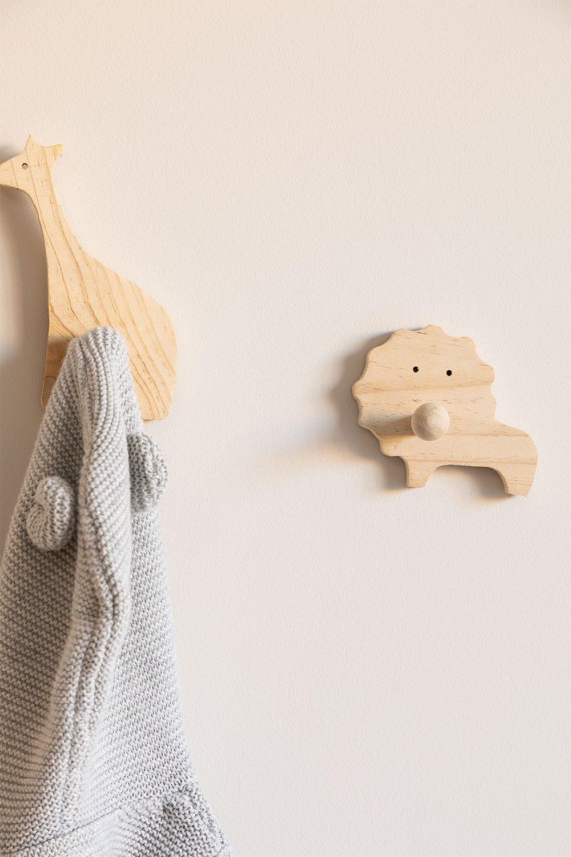 Wandkapstok voor kinderen in hout Lion Kids, galerij beeld 1