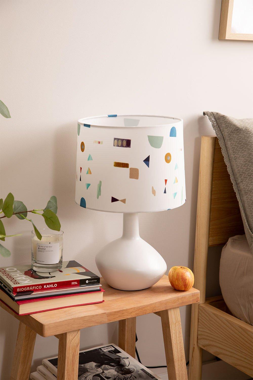 Tafellamp in stof en polyethyleen Triya, galerij beeld 1