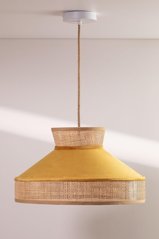 Plafondlamp in fluweel en rotan Xanti, galerij beeld 1