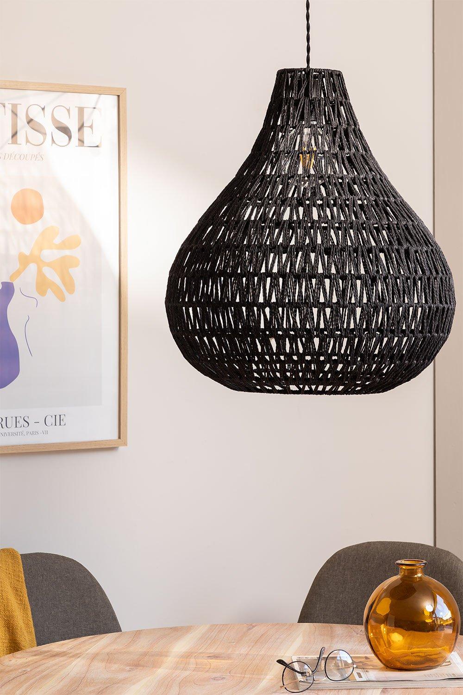 Nok plafondlamp van gevlochten papier, galerij beeld 1