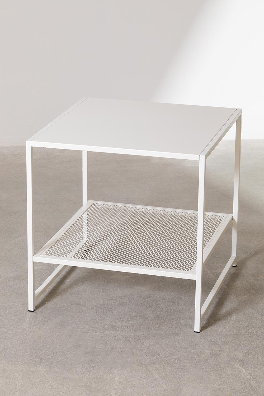 Vierkante bijzettafel van staal met rooster (50,8x50,8 cm) Thura, galerij beeld 1