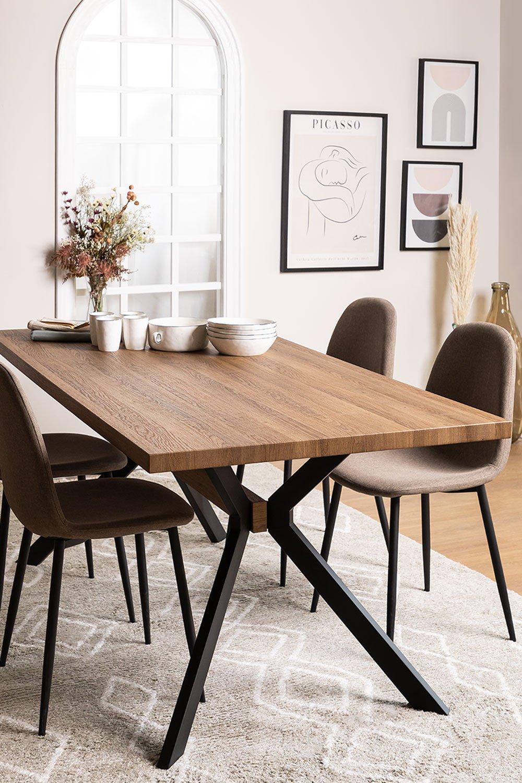 Kogi rechthoekige eettafel van hout en metaal (180x90 cm), galerij beeld 1