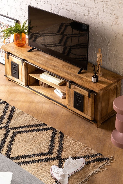 Uain Tv-meubel van mangohout, galerij beeld 1