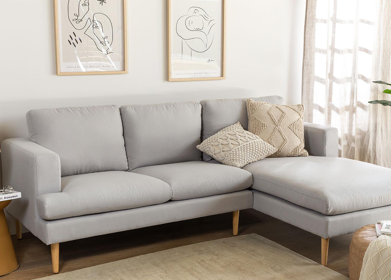 Sofá Chaise Longue 3 Lugares em Tecido Arnold, imagem de galeria 1