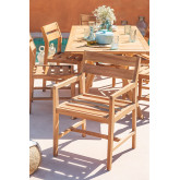 Cadeira de jardim com braços em Yolen de madeira de teca, imagem miniatura 1
