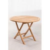 Conjunto de mesa redonda e 2 cadeiras dobráveis para jardim em madeira de teca Pira, imagem miniatura 3
