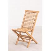 Conjunto de mesa redonda e 2 cadeiras dobráveis para jardim em madeira de teca Pira, imagem miniatura 4
