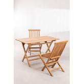 Conjunto de Jardim Mesa Retangular Dobrável e 2 Cadeiras em Madeira Teca Pira, imagem miniatura 2