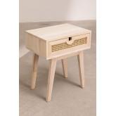 Mesa de cabeceira estilo Ralik com gaveta em madeira, imagem miniatura 2