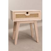 Mesa de cabeceira estilo Ralik com gaveta em madeira, imagem miniatura 3