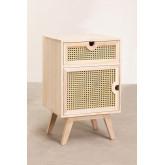 Mesa de cabeceira com armazenamento de madeira estilo Ralik, imagem miniatura 2