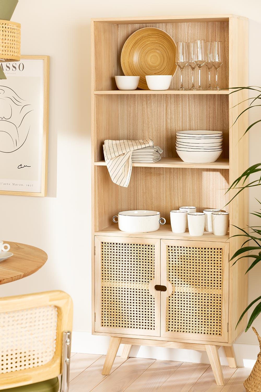 Aparador de madeira com 2 prateleiras estilo Ralik, imagem de galeria 1