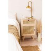 Mesa de cabeceira com armazenamento de madeira estilo Ralik, imagem miniatura 1