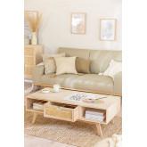 Mesa de centro de madeira com gaveta central estilo Ralik, imagem miniatura 2