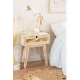 Mesa de cabeceira estilo Ralik com gaveta em madeira, imagem miniatura 1