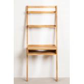 Mesa de madeira de carvalho estilo Zina com prateleiras, imagem miniatura 3