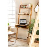 Mesa de madeira de carvalho estilo Zina com prateleiras, imagem miniatura 1