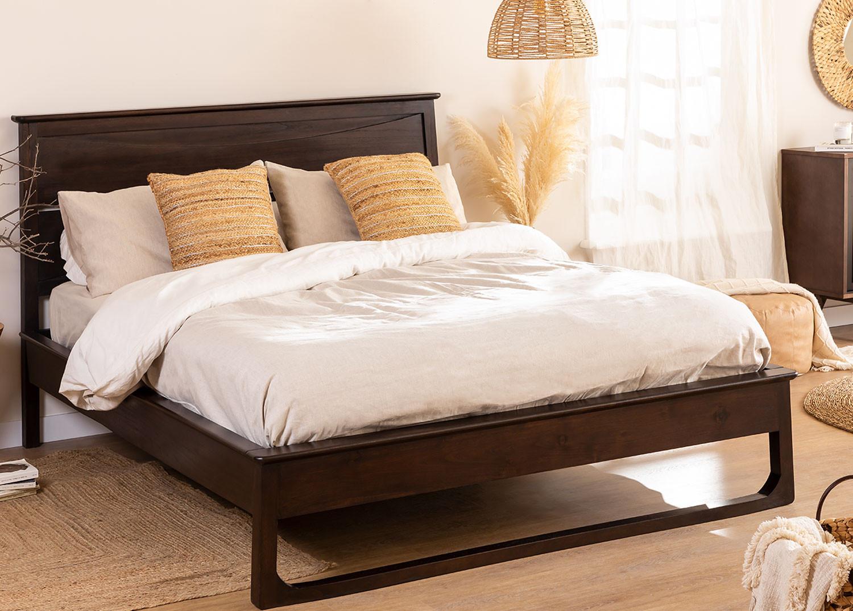 Cama de madeira de teca para colchão somy 160 cm, imagem de galeria 1