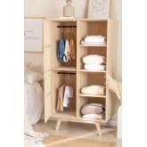 Guarda-roupa de madeira estilo Ralik com 1 porta, imagem miniatura 2