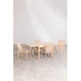 Pacote de mesa extensível ao ar livre (90 cm -180 cm) Starmi e 4 cadeiras ao ar livre Eika, imagem miniatura 3