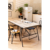 Mesa de jantar retangular de madeira (200x91cm) estilo Nathar, imagem miniatura 1