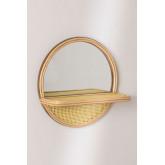 Espelho redondo de parede com prateleira em madeira de pinho (Ø30) Rykker, imagem miniatura 2