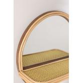 Espelho redondo de parede com prateleira em madeira de pinho (Ø30) Rykker, imagem miniatura 3